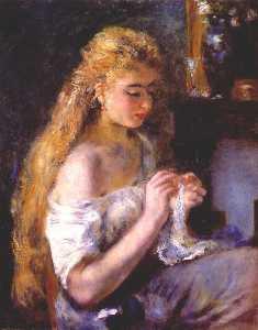 Girl crocheting