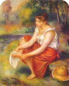 Girl wiping her feet