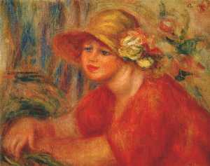Woman in a hat with flowers