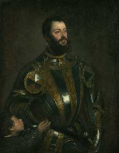 Portrait of Alfonso d`Avalos , in Armor with a Page