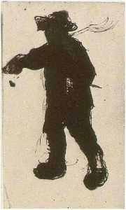 Silhouette of a Man with a Rake