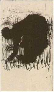 Silhouette of a Peasant Woman Digging Carrots