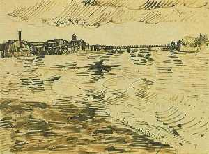 The Rhone with Boats and a Bridge