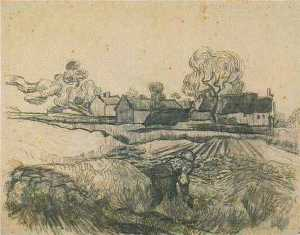 Cottages with a Woman Working in the Foreground