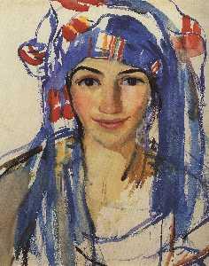 Self-portrait wearing a scarf