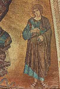 Christ Enthroned between the Virgin and St John the Evangelist (detail)
