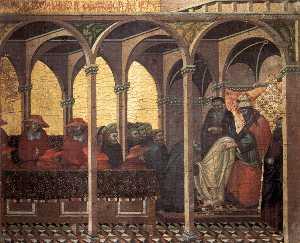 Predella pannello : l'approvazione del nuovo carmelitano Abitudine da papa Onorio DISPOSITIVO DI VENIPUNZIONE
