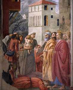 The Distribution of Alms and the Death of Ananias (detail)