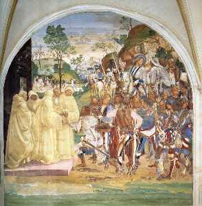 Life of St Benedict, Scene 28: Benedict Recognizes and Receives Totila