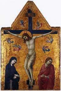 crocifissione con l'estensione vergine e san giovanni evangelista