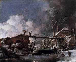 Winter Landscape with Wooden Bridge