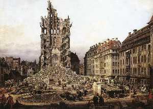 руины старого кройцкирхе в дрездене