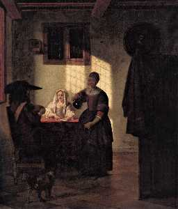 A Couple Playing Cards, with a Serving Woman