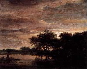 Woodland Scene with Lake
