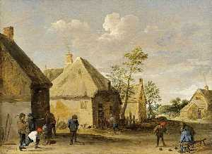 Peasants Bowling in a Village Street