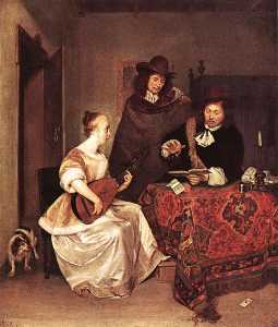 A Young Woman Playing a Theorbo to Two Men