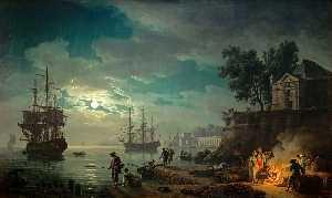 Night: Seaport by Moonlight