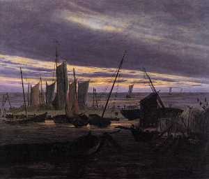 Boats in the Harbour at Evening