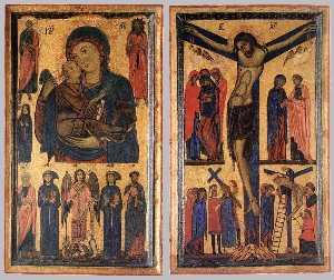 Мадонна с младенцем с  Святые  Причем  Распятие на кресте