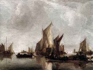 A State Yacht and Other Craft in Calm Water