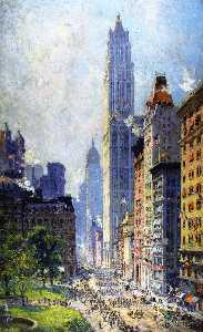 Lower Broadway in Wartime