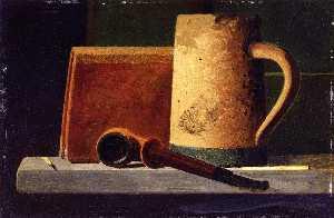 Mug, Pipe and Book in Window Ledge