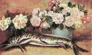 Natura morta con fiori e pesce