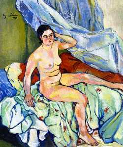 Nude Seated on a Bed