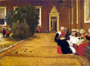 Recess in the Amsterdam Orphanage - View of the Inner Courtyard, Study