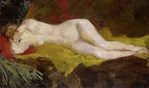 Reclining Nude (also known as Anne, lying naked on a yellow cloth)