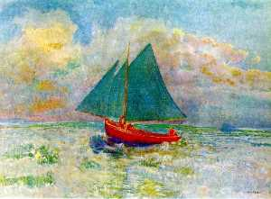 Red Boat with Blue Sails