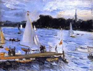 Sailboats on the Alster River in the Evening