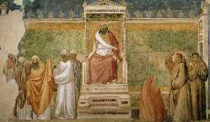 Scene da vita di san francesco : 6 . san francesco davanti al sultano ( Prova da un incendio ) ( Bardi Cappella , Babbo Croce , Firenze )