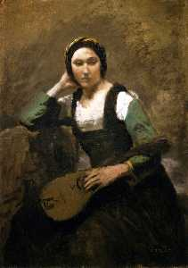 Seated Young Woman with Mandolin