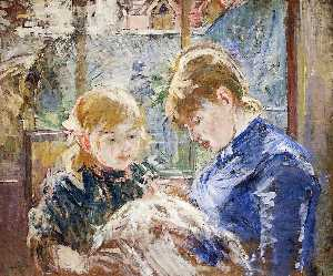 The Sewing Lesson (also known as The Artist's Daughter, Julie, with Her Nanny)