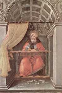 St. Augustine in his cell