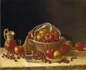Still Life with Apples, a Basket and Chestnuts