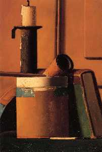 Still Life with Candlestick, Pipe and Book