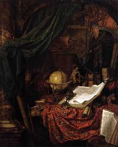 Still-Life with Globe, Books and Chinese Silk