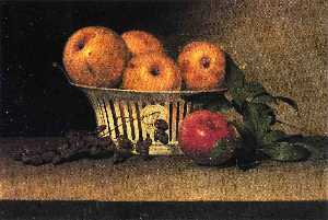 Still Life with Raisins, Yellow and Red Apples in Porcelain Basket
