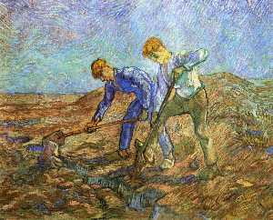 Two Peasants Diging (after Millet)