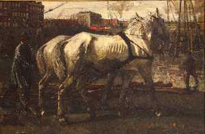 Two White Horses Pulling Posts in Amsterdam