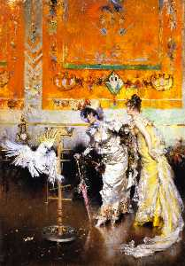 Two Women with a Parrot (also known as Teasing the Parrot)