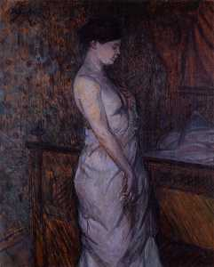 Woman in a Chemise Standing by a Bed (also known as Madame Poupoule)