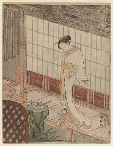 Courtesan In Night Attire Standing On A Verandah