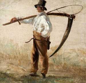 A Rustic Holding A Scythe