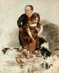 A Boy And A Girl With A Collie Dog Standing By A Stream (study For 'the Covenanters' Baptism')