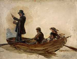 Reverend Thomas Guthrie, Preacher And Philanthropist With His Children, Patrick And Anne, Fishing On Lochlee
