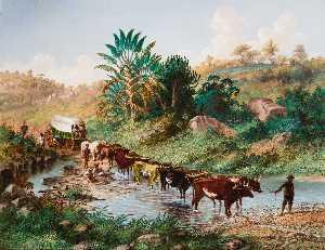 Wagon Crossing A Drift - Natal