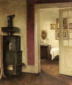 un interior con un Estufa y una vista de la Un comedor